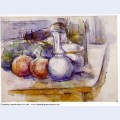 Still life with carafe sugar bowl bottle pommegranates and watermelon