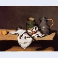 Still life with green pot and pewter jug
