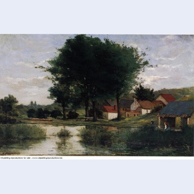 Autumn landscape farm and pond 1877
