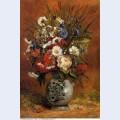 Daisies and peonies in blue vase 1876