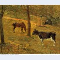 Horse and cow in a meadow 1885