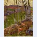Petit breton arranging his shoe or landscape at pont aven brittany 1888