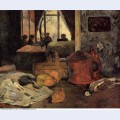 Still life of onions and pigeons and room interior copenhagen 1885