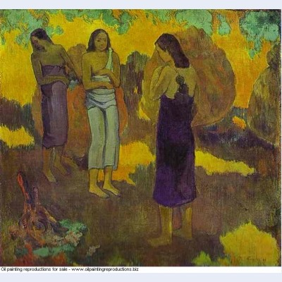 Three tahitian women against a yellow background 1899 oil on canvas 1899