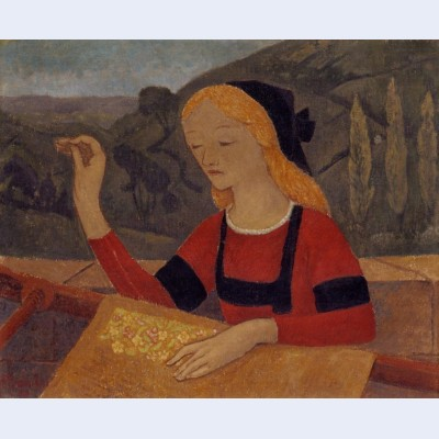 Embroiderer in a landscape of chateauneuf