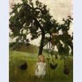 Elizabeth with hens under an apple tree