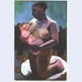 Kneeling breast feeding mother