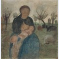 Mother with baby at her breast and child in landscape