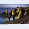 Fishermen hauling the net on skagen s north beach 1883