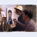 Oscar bj rck and eilif peterssen painting portraits of georg brandes 1883