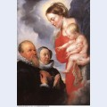 Madonna and child with the donors alexandre goubeau and his wife anne antoni