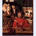St eligius as a goldsmith showing a ring to the engaged couple