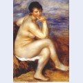 Bather with a rock