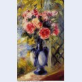 Bouquet of roses in a blue vase 1892