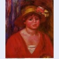 Bust of a young woman in a red blouse 1915