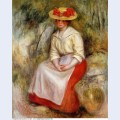 Gabrielle in a straw hat 1900