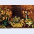 Vase basket of flowers and fruit 1890