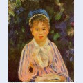 Young woman in a blue and pink striped shirt 1875