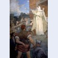 St genevieve makes confidence and calm to frightened parisians of the approach of attila
