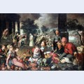 Market with christ and the woman taken in adultery