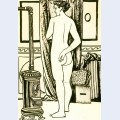 Female nude from back with stove