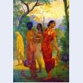Shakuntala looking back to glimpse dushyanta
