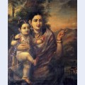 Sri krishna as a young child with foster mother yasoda