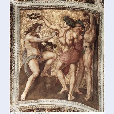 Apollo and marsyas from the stanza della segnatura 1511