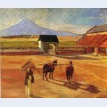 La era the threshing floor oil on canvas