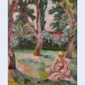 Orchard woman seated in a garden