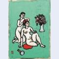 Nude arranging coiffure