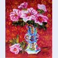 Peonies in a chinese vase