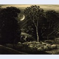 Moonlight a landscape with sheep