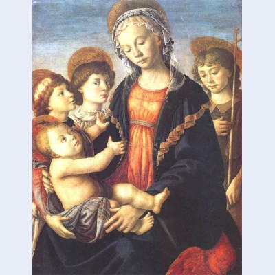 The virgin and child with two angels and st john the baptist