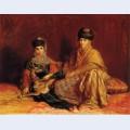 Femme et fillette de constantine avec une gazelle