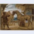 Arabian stallion led by two arabians to breed