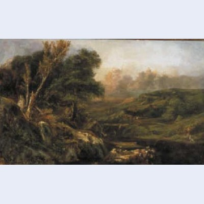 Mountain landscape with fisherman