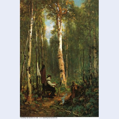 Artist at his easel in the woods