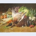 Still life with ducks and vegetables