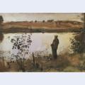 Artist k korovin on the river bank