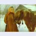 In a village peasant woman with a horse 2