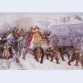 Big masquerade in on the streets of moscow with the participation of peter i and princer i