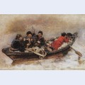 Cossacks in boat study to the conquest of siberia by yermak
