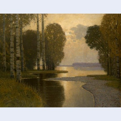 Landscape with birch trees