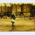 A girl in the street two coaches in the background 1882 1