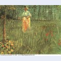 A woman walking in garden 1887 1