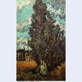 Cypresses and two women 1890 1