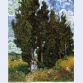 Cypresses with two women 1889 1
