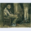 Farmer sitting at the fireside and reading 1881 1