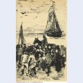 Group of people on the beach with fishing boat arriving 1882 1